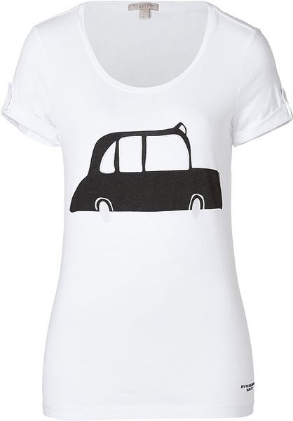 Burberry Brit Cotton Cab Print T shirt in White in White