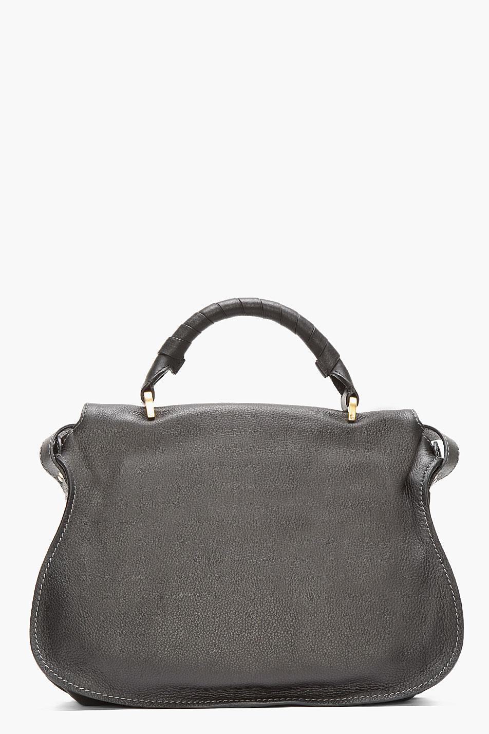 Chlo¨¦ Black Leather Medium Marcie Handbag in Black | Lyst