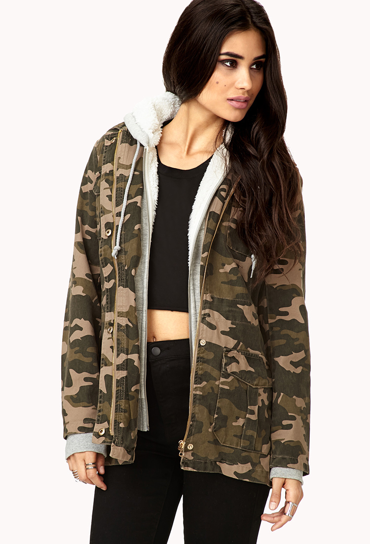 cea2e7961f1f3 Forever 21 Laid Back Camo Jacket in Green - Lyst