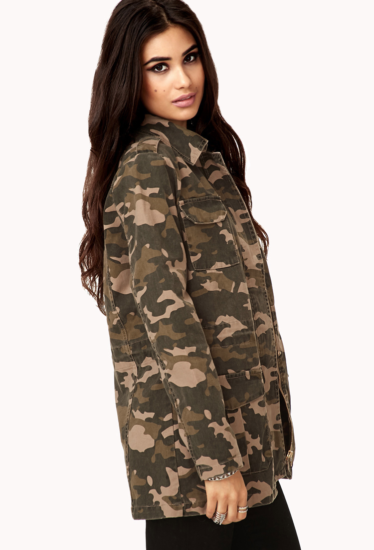 affce1619b64b Forever 21 Laid Back Camo Jacket in Green - Lyst