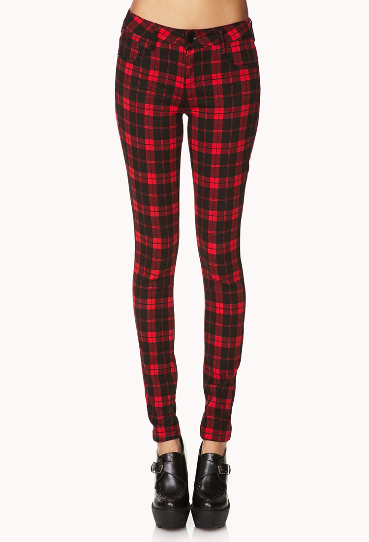 6213a06f46f8e4 Forever 21 Plaid Skinny Jeans in Red - Lyst