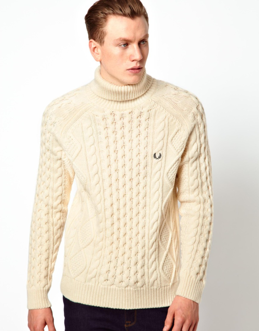 Asos Aran Roll Neck Sweater in White for Men (Cream) Lyst