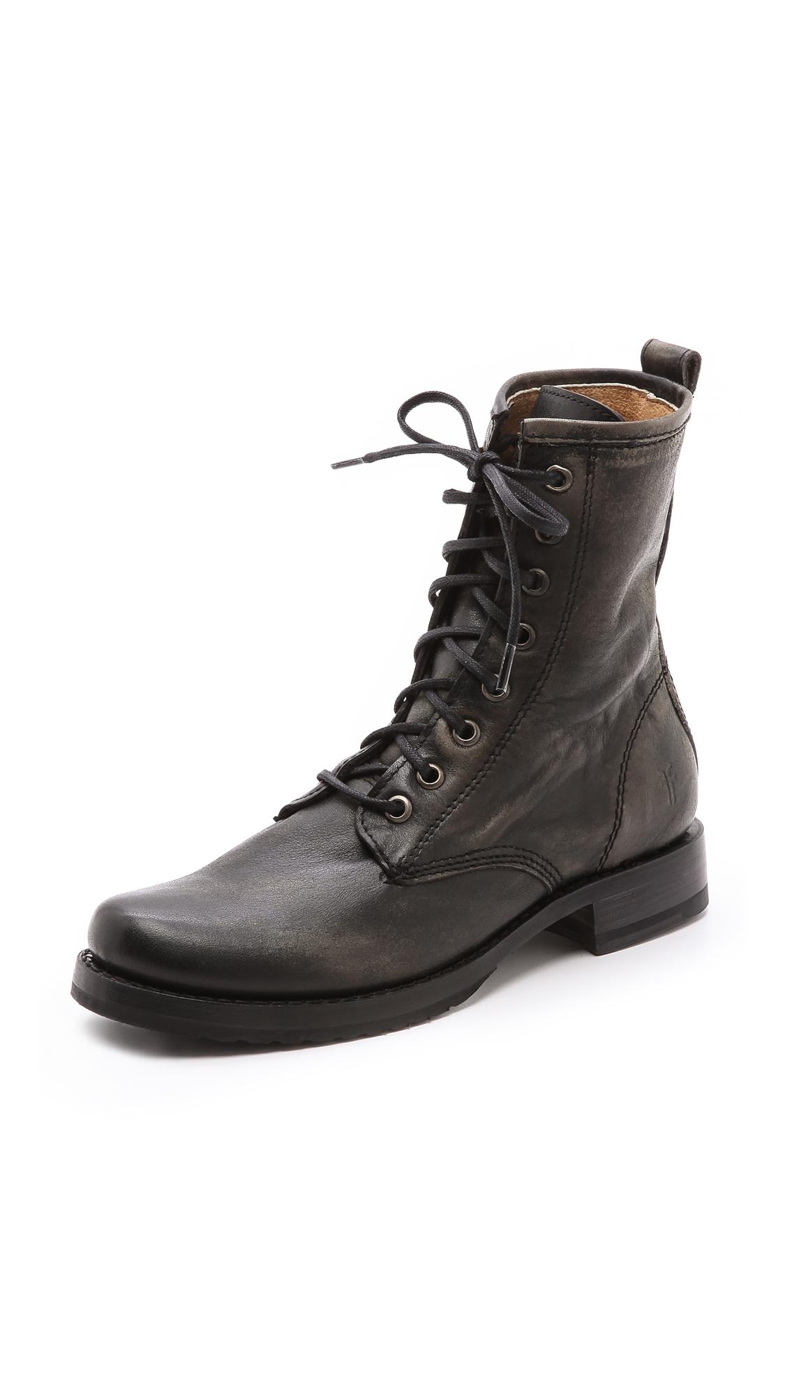 Lyst Frye Veronica Combat Boots In Black