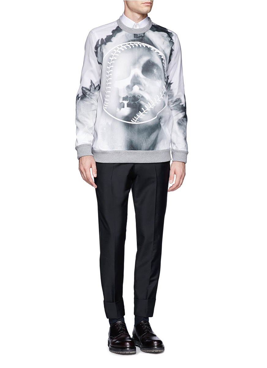 Lyst - Givenchy Sheer Back Skull And Baseball Printed Sweatshirt in ...