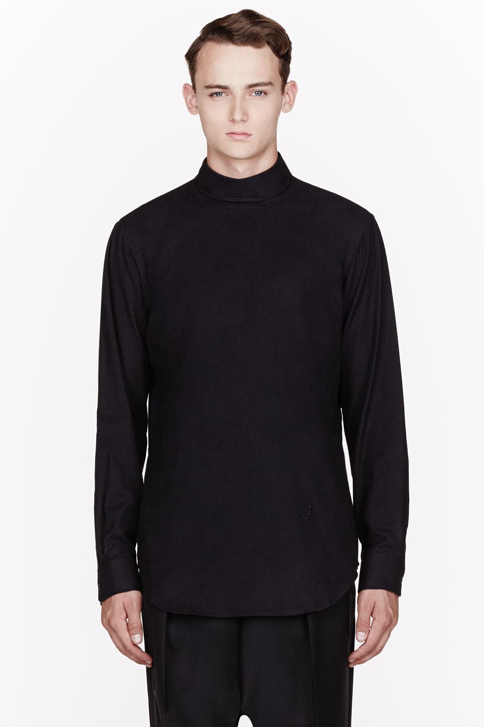 Lyst J W Anderson Black Priest Collar Shirt In Black For Men