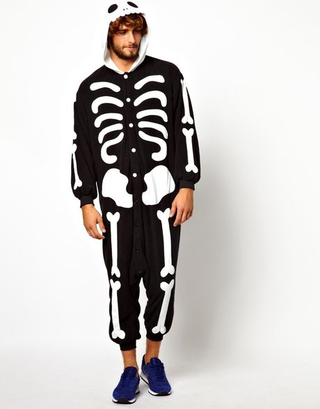 Asos Kigu Skeleton Onesie In Black For Men Lyst