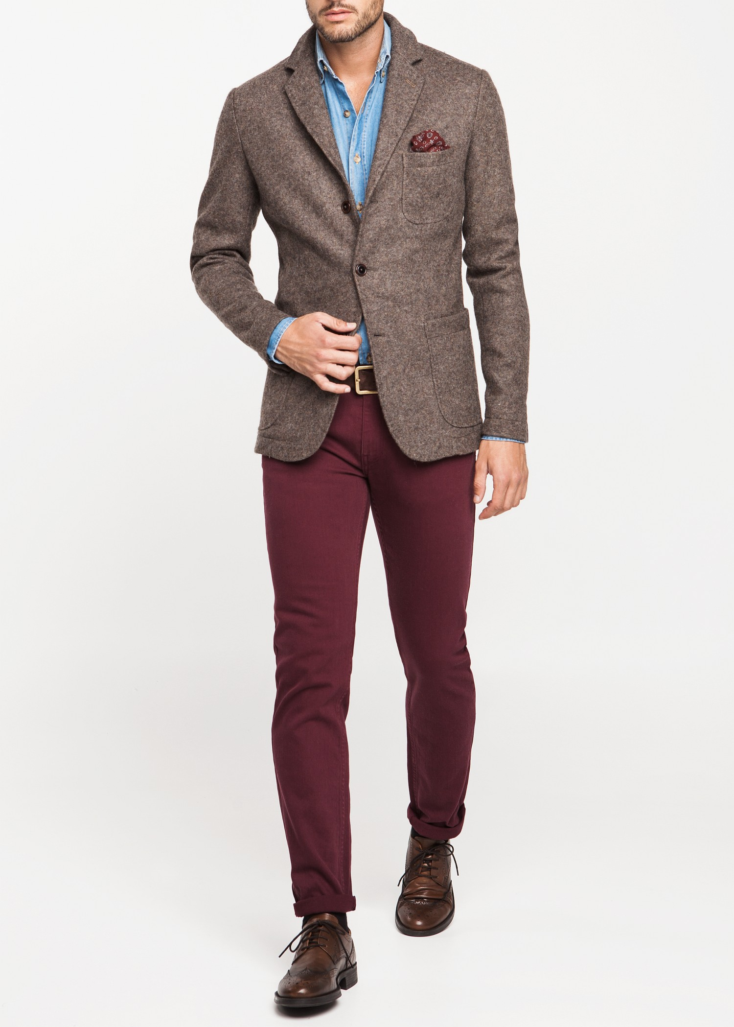 Lyst mango suede elbow patch wool blazer in natural for men