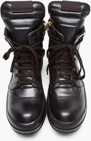 rick owens black leather geobasket sneakers in black for men lyst. Black Bedroom Furniture Sets. Home Design Ideas