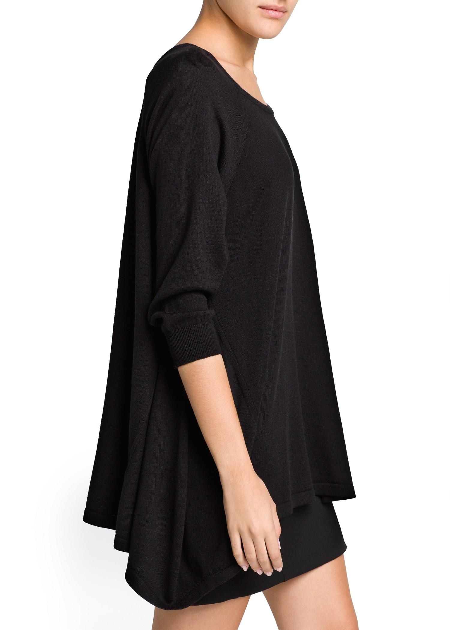 lyst mango asymmetric hem oversize sweater in black. Black Bedroom Furniture Sets. Home Design Ideas