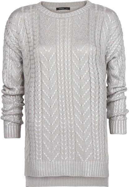 Mango Cableknit Metallic Sweater In Silver Light Silver