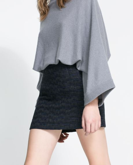 zara skirt with faux leather piping in blue blue black