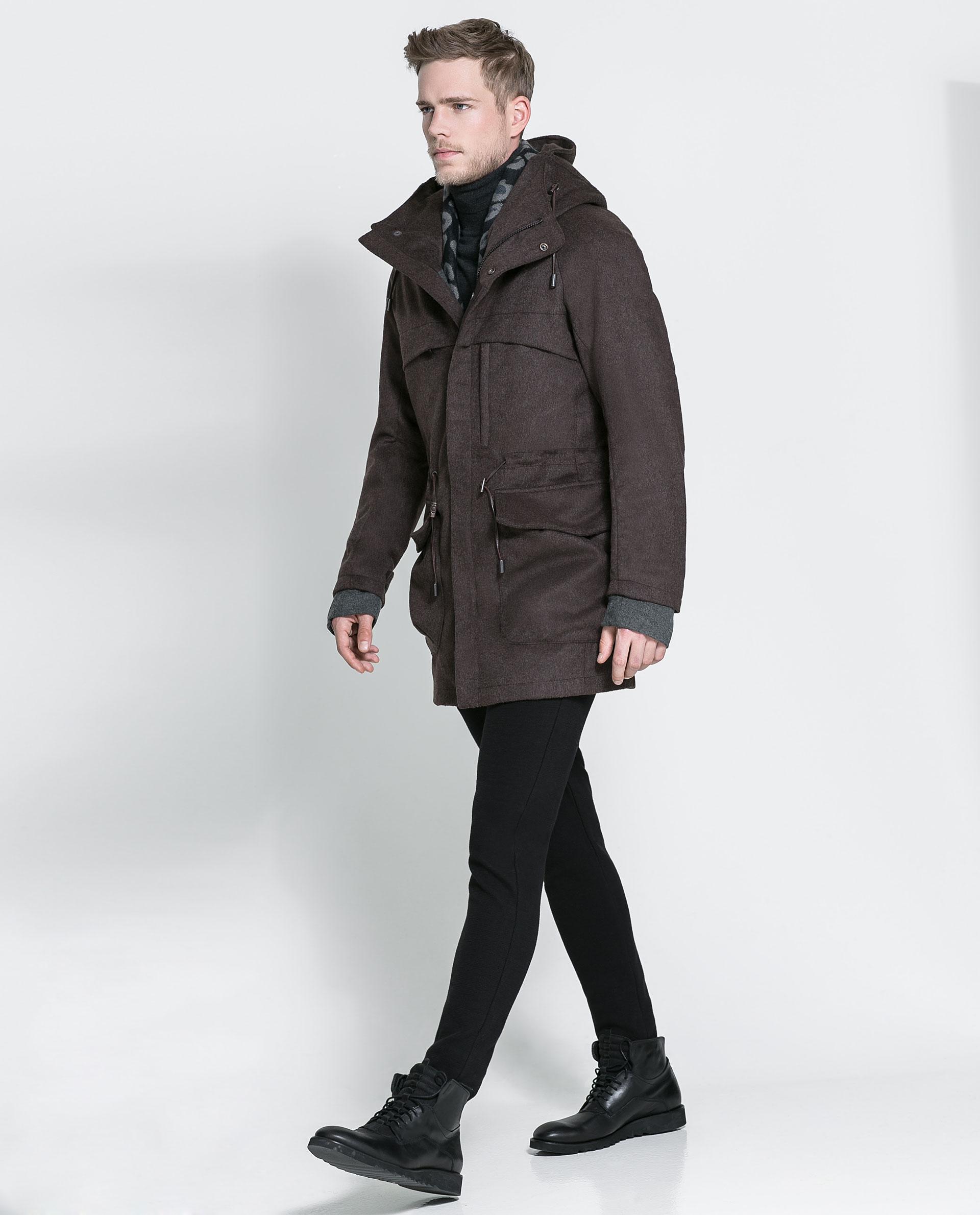 Zara Brown Hooded Coat in Brown for Men | Lyst