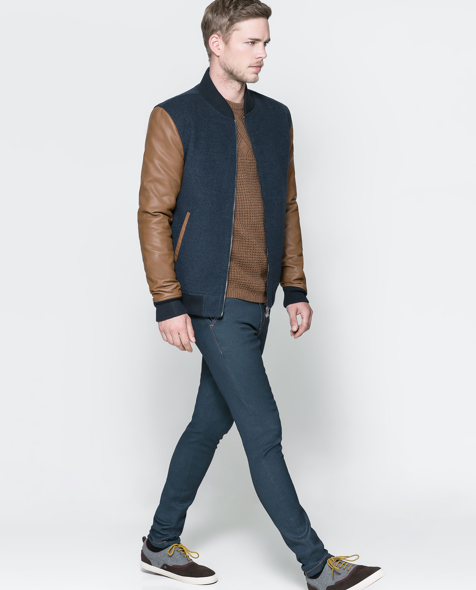 Zara Combination Bomber Jacket in Brown for Men | Lyst