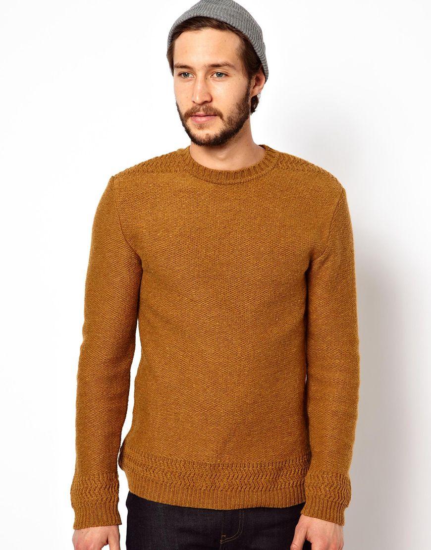 Edwin Crew Neck Sweater Docker Knit in Brown for Men | Lyst