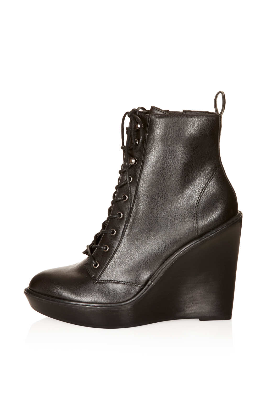 topshop lace up wedges in black lyst