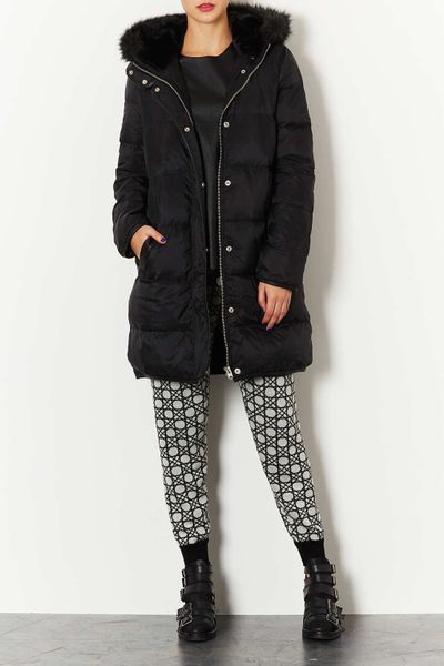 Topshop Down Puffer Jacket In Black Lyst