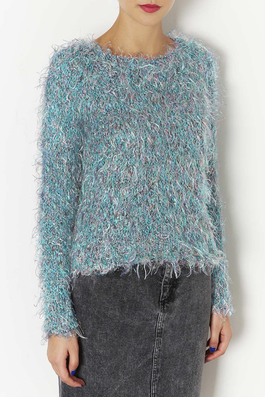 Knitting Pattern Fluffy Jumper : Topshop Knitted Multi Fluffy Jumper in Blue Lyst