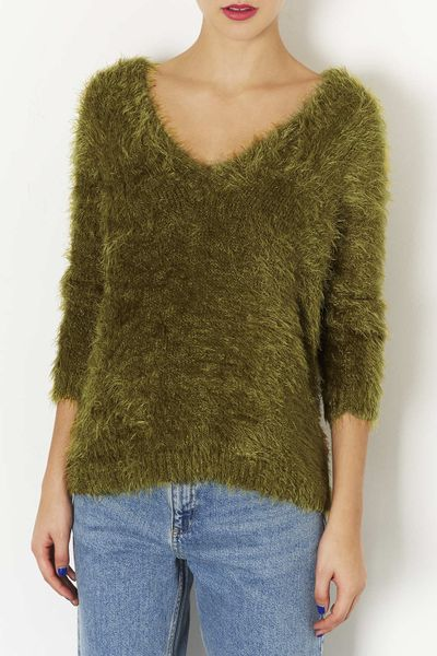 Topshop Knitted Fluffy V Neck Jumper in Green (OLIVE) Lyst