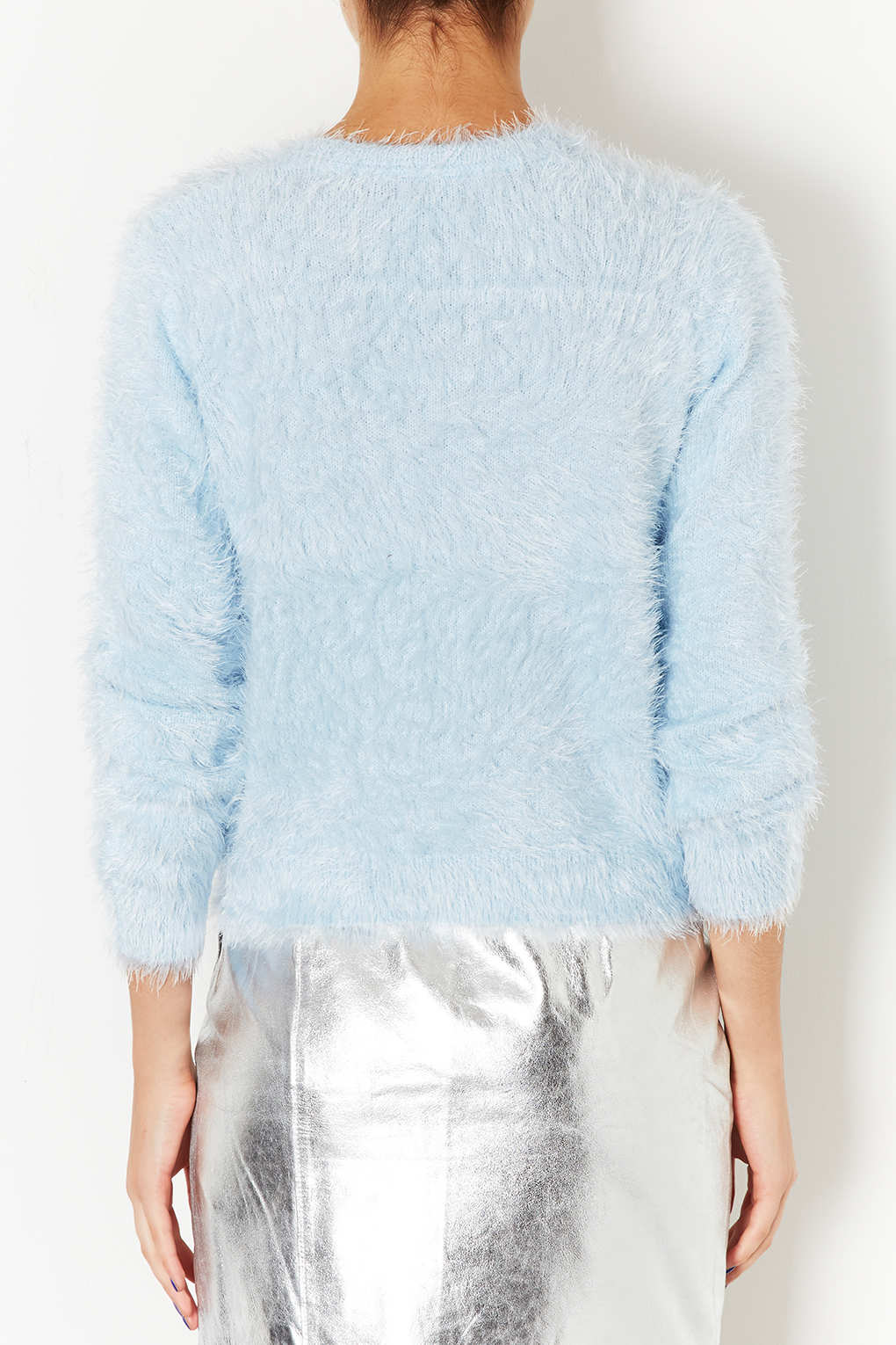 Lyst - Topshop Knitted Fluffy Crew Jumper in Blue