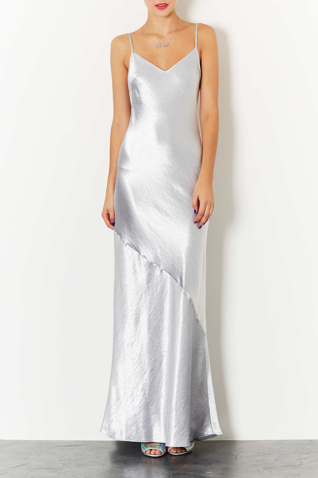 TOPSHOP Strappy Satin Maxi Dress in Metallic - Lyst 53cf6cf21