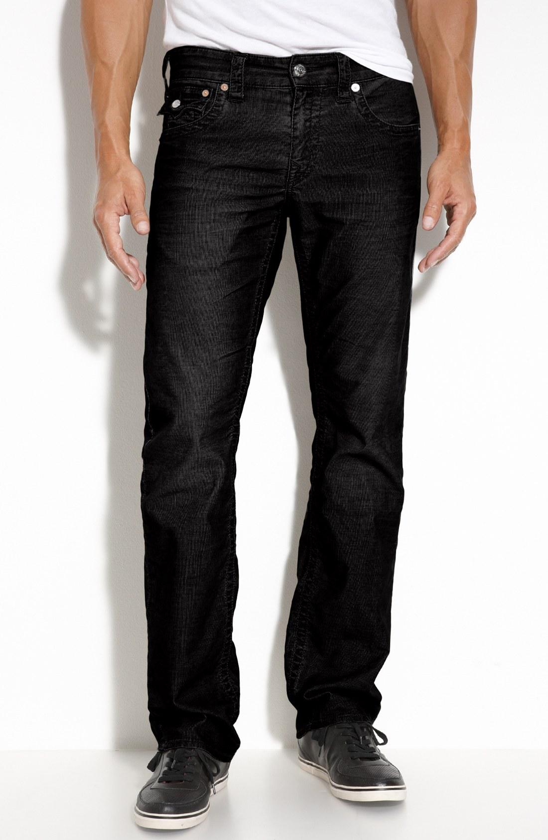 true religion ricky straight leg corduroy pants in black. Black Bedroom Furniture Sets. Home Design Ideas