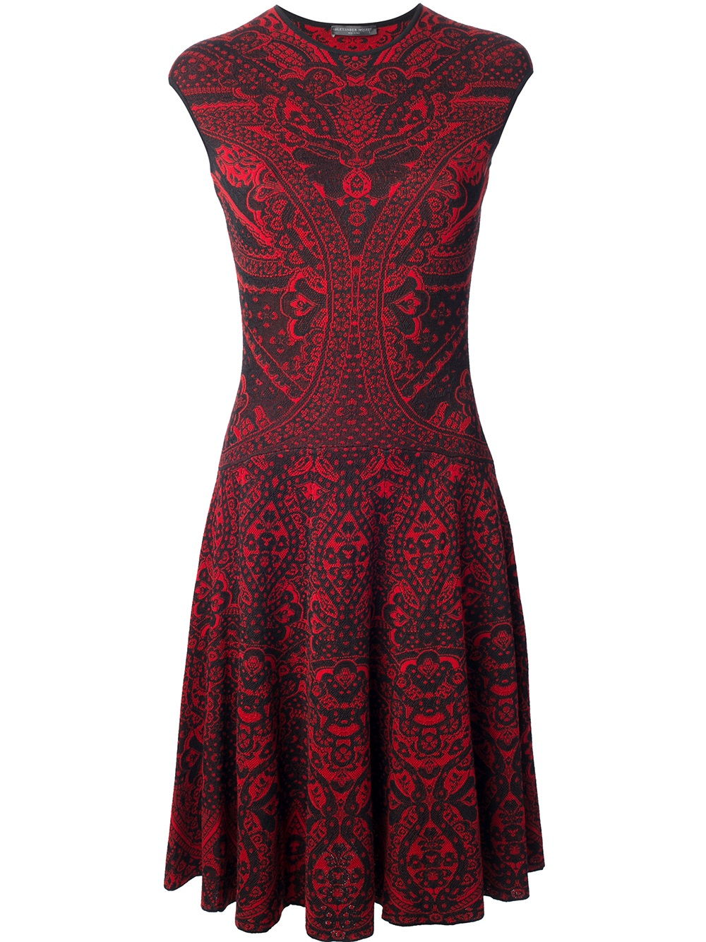 Alexander Mcqueen Lace Jacquard A Line Dress in Red (black ...