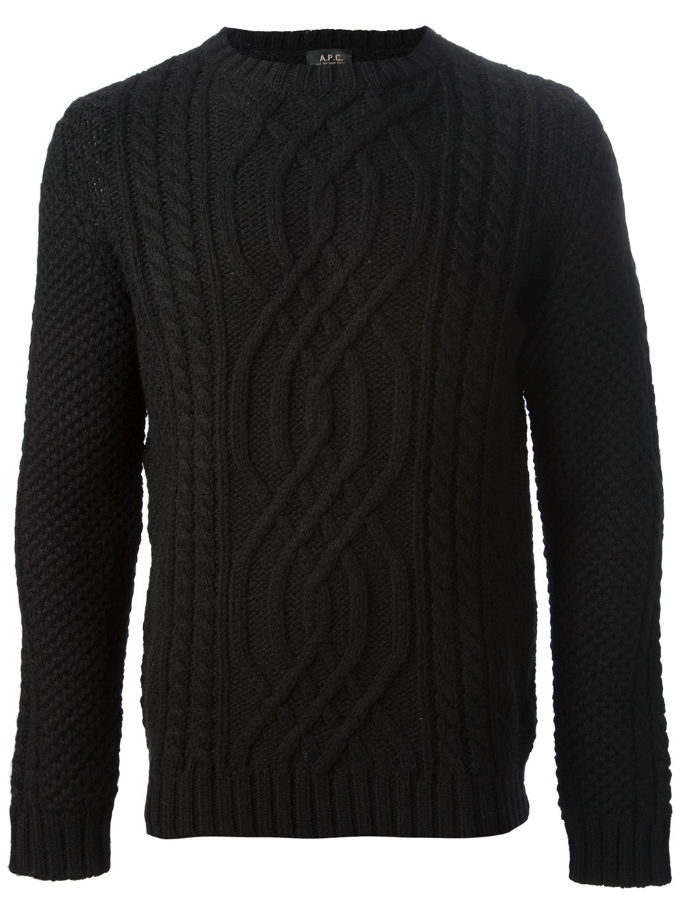 A.p.c. Cable Knit Sweater in Black for Men | Lyst