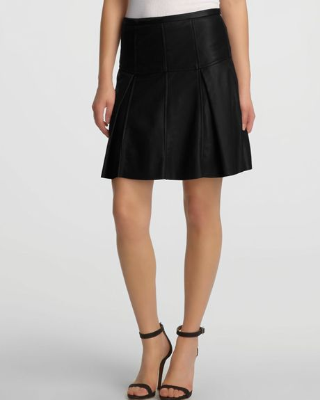 heritage flared leather skirt in black lyst