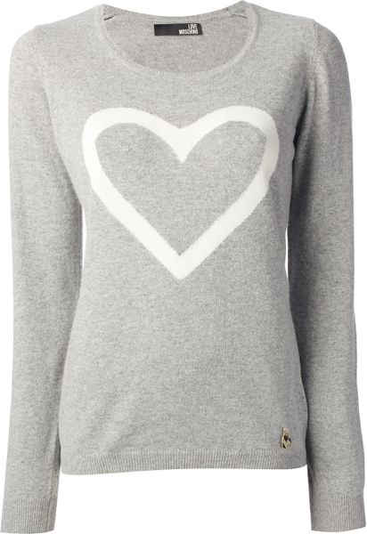 love moschino heart sweater in gray grey lyst. Black Bedroom Furniture Sets. Home Design Ideas