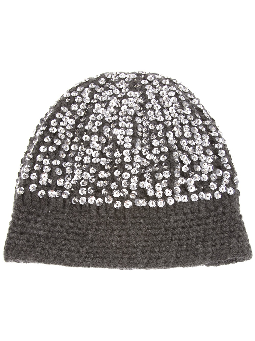 Lyst - Madeleine Thompson Sequin Beanie Hat in Gray e805ba8a468
