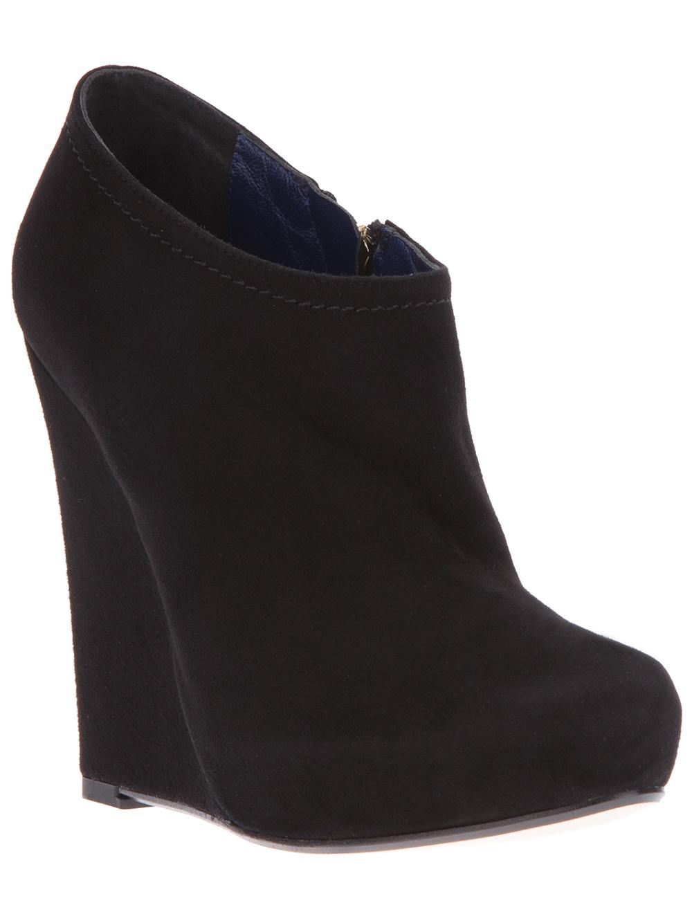 studio pollini wedge ankle boot in black lyst
