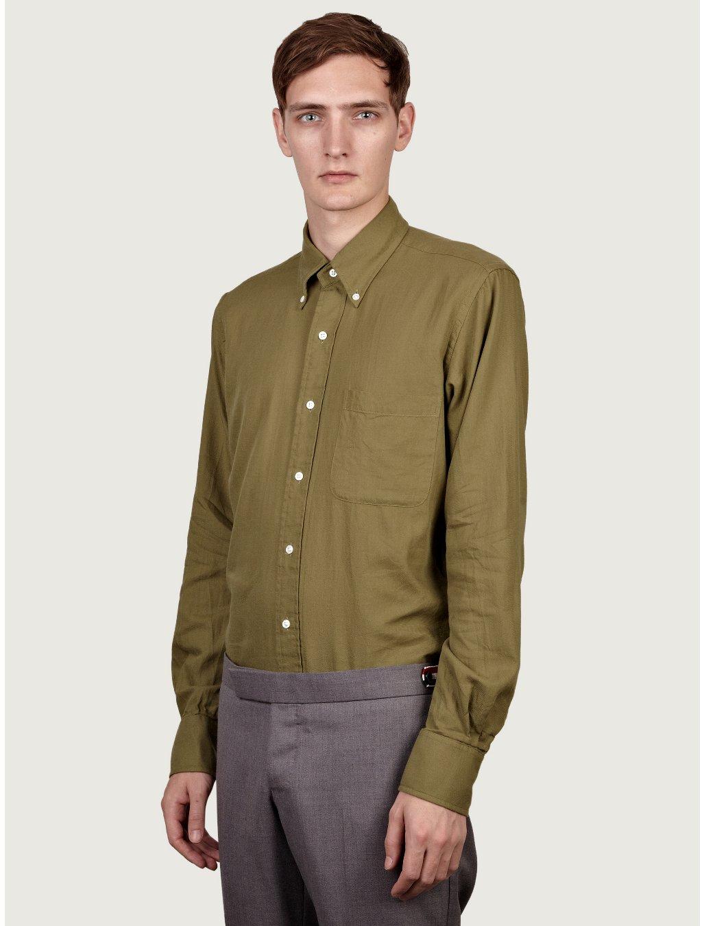 Thom browne mens classic light flannel shirt in green for for Men s lightweight flannel shirts