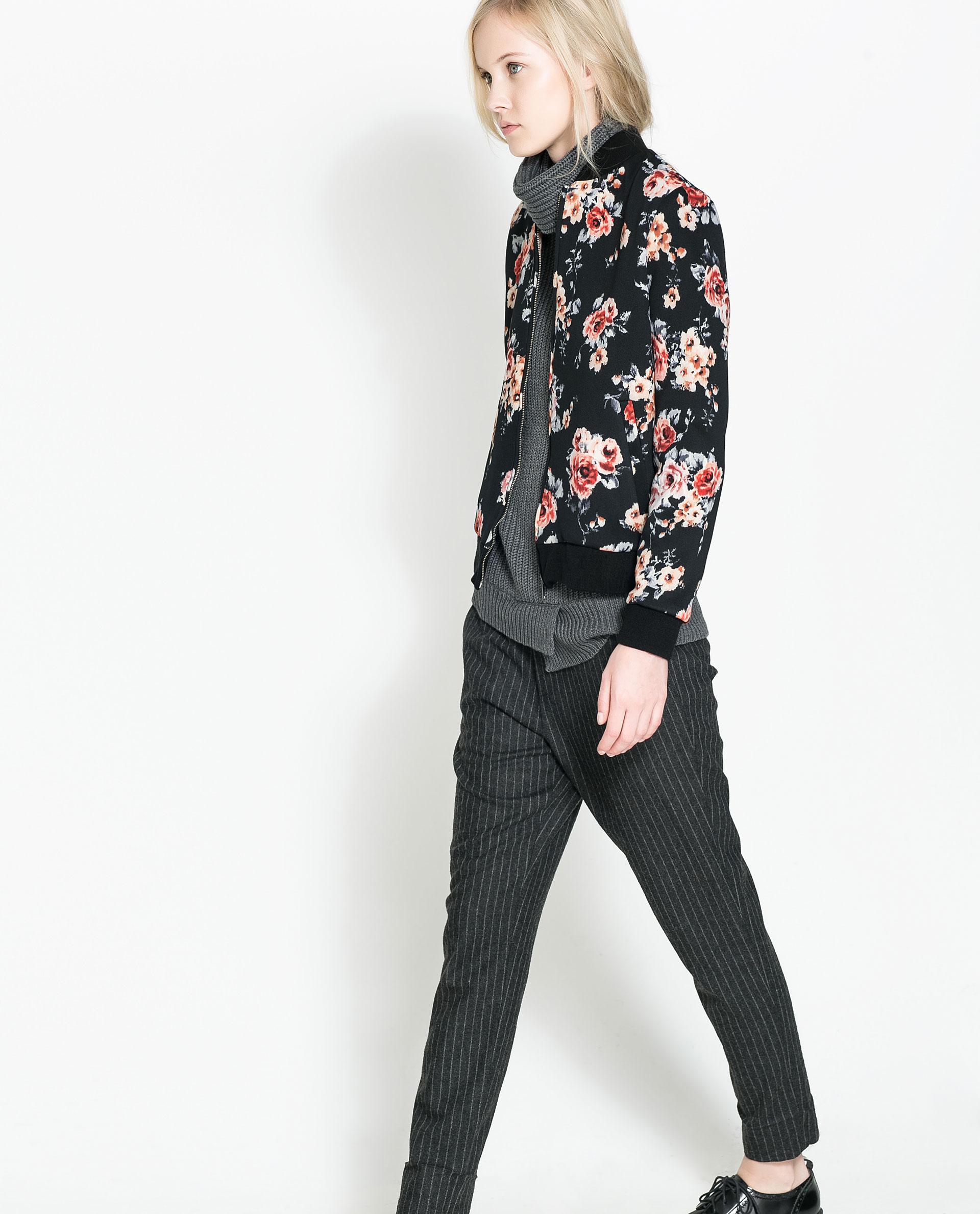 Zara Floral Print Bomber Jacket In Black Lyst