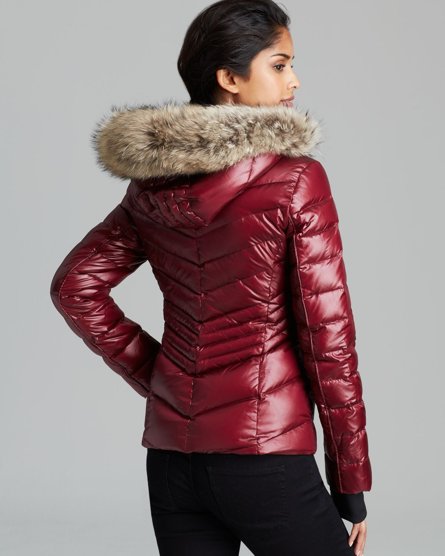 Andrew Marc Down Coat Fur Trim Hood In Red Lyst