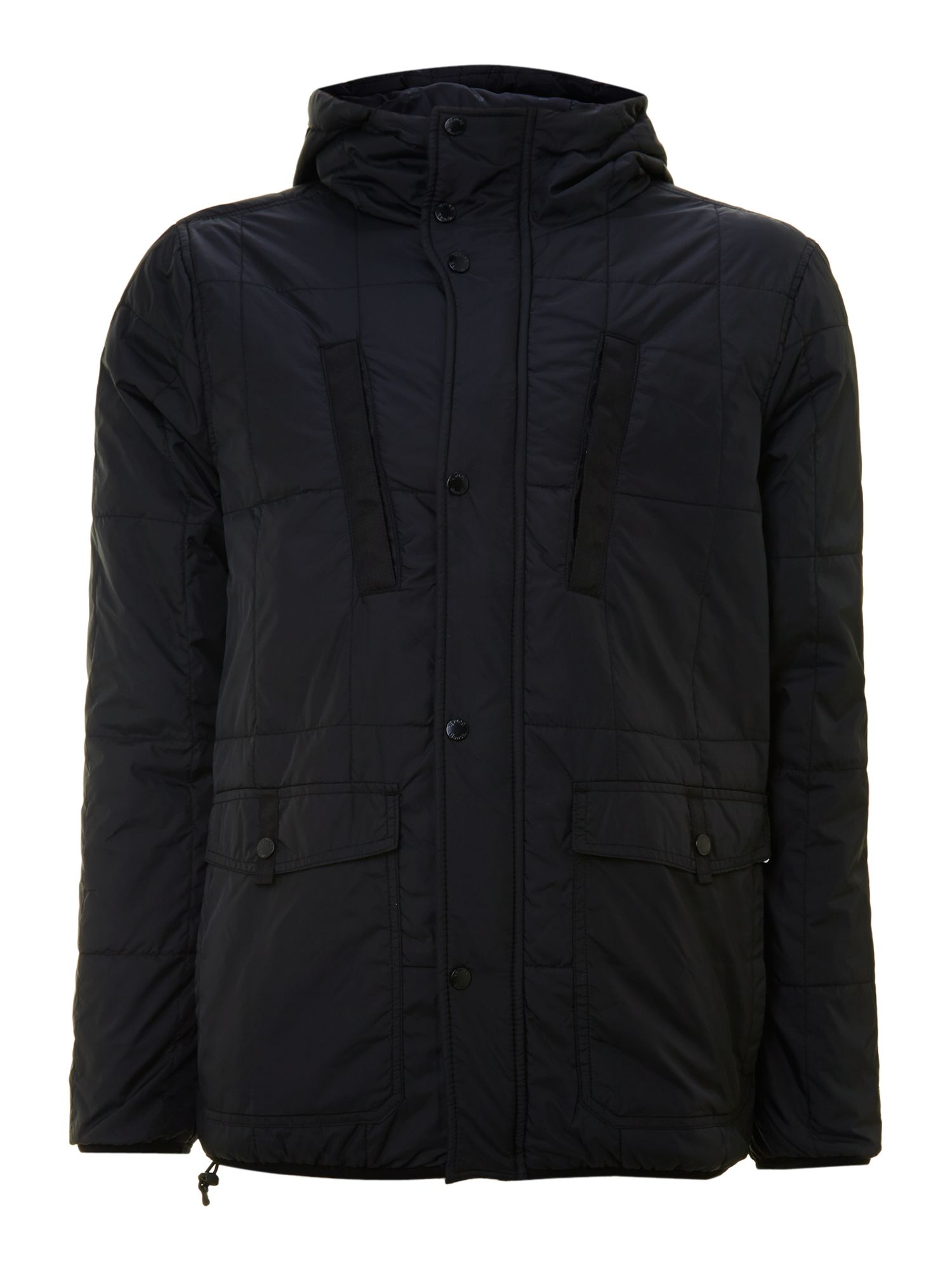 Bench hooded puffer jacket in black for men lyst Bench jacket