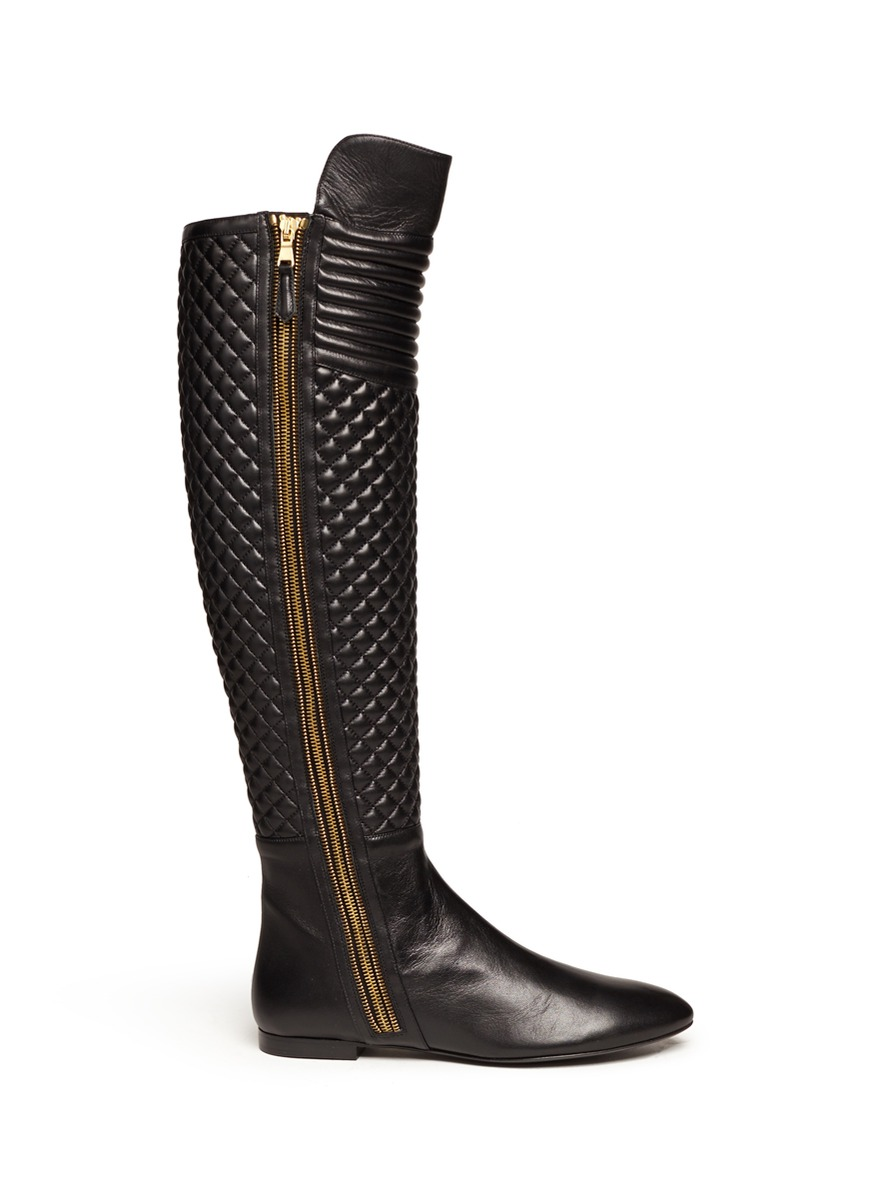brian atwood quilted leather boots in black lyst