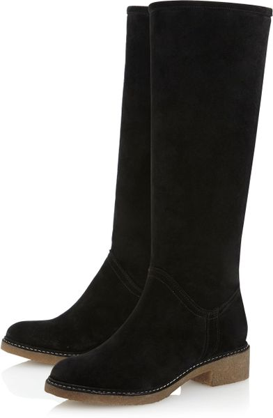 dune tangfaux fur lined high boots in black black suede