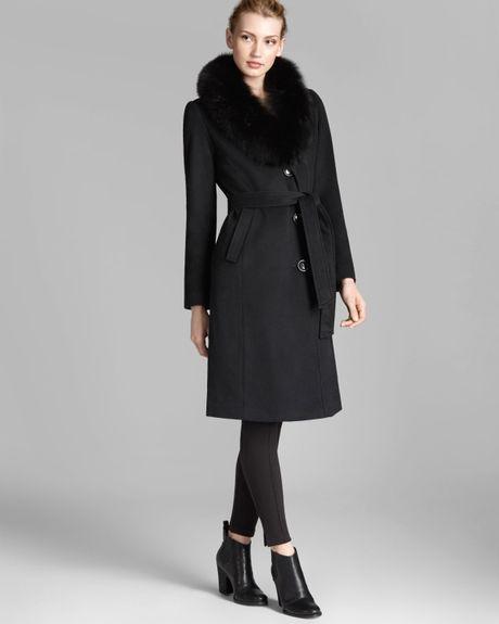 Ellen Tracy Coat Fox Fur Collar Belted In Black Lyst