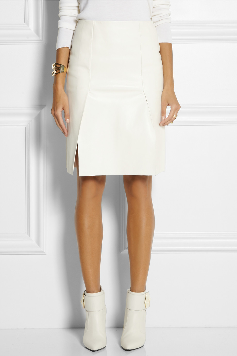 Lyst Fendi Leather Pencil Skirt In White