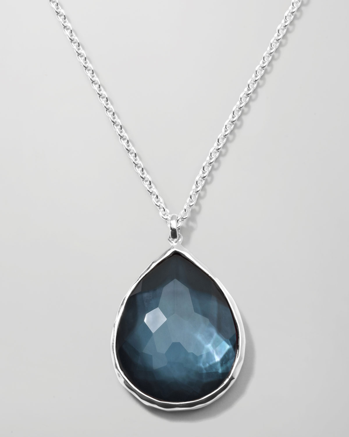 Lyst ippolita wonderland silver large teardrop pendant necklace in gallery aloadofball Choice Image