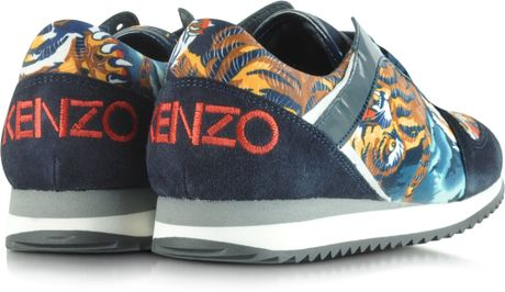 Kenzo Blue Suede with Flying Tiger Print Sneaker in Multicolor  Blue Kenzo Flying Tiger Shoes