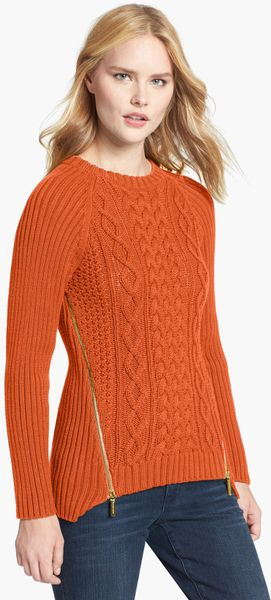 Michael Michael Kors Side Zip Cable Knit Sweater In Orange
