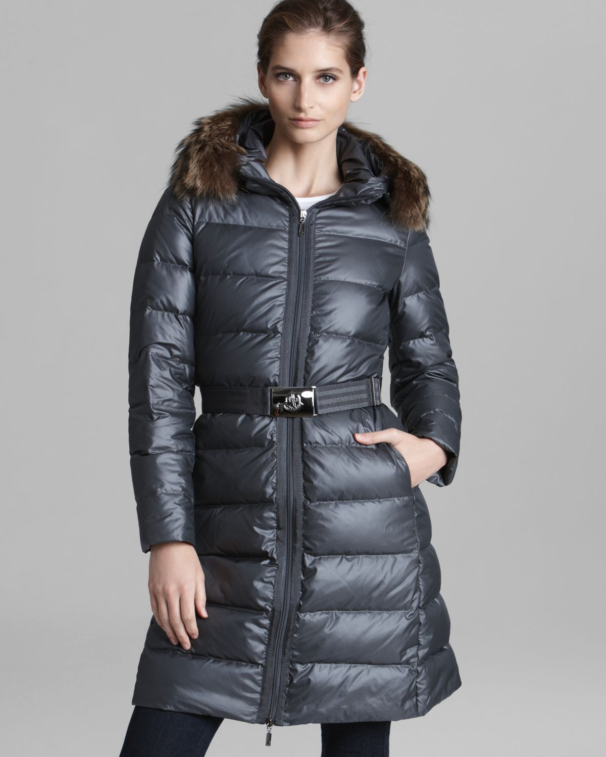 Moncler Down Coat Bouleau Belted Fur Trim Hood in Gray | Lyst
