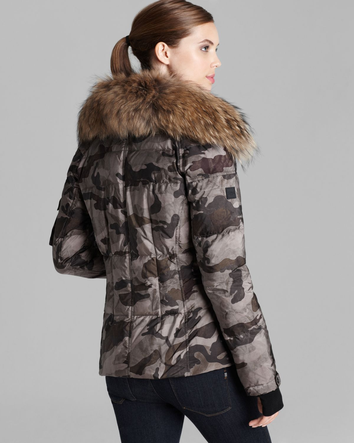 Sam. Down Jacket Camo Freestyle Fur Collar in Brown | Lyst