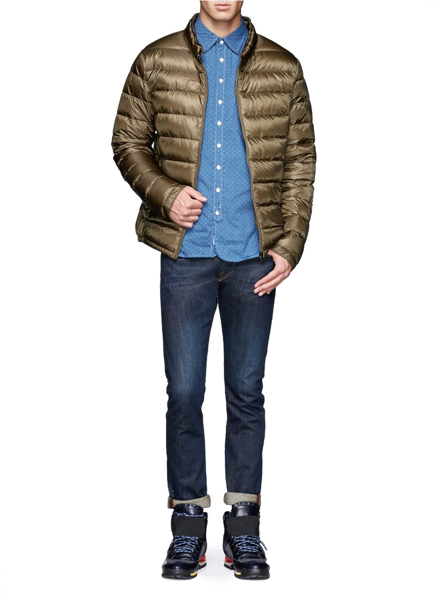 scotch soda quilted down jacket in green for men lyst. Black Bedroom Furniture Sets. Home Design Ideas
