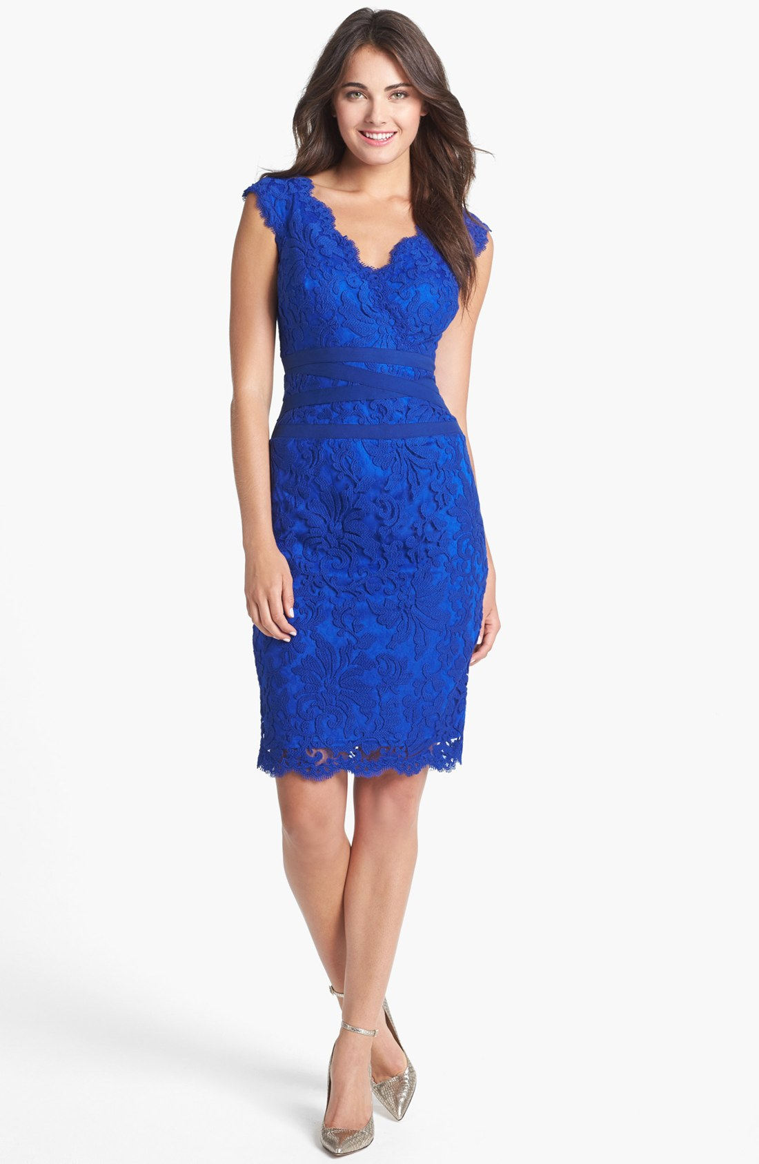 Tadashi Shoji Lace Tulle Sheath Dress in Blue (Marina)