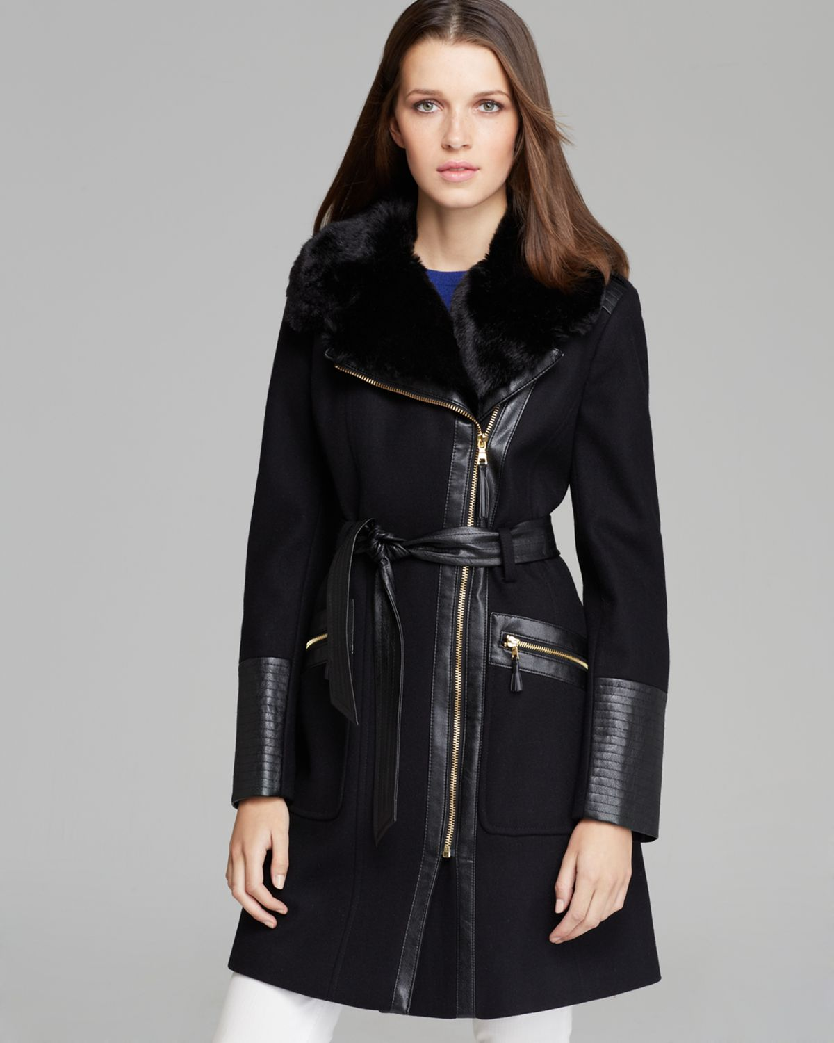 Via spiga Coat - Asymmetric Zip Faux Fur Trim in Black | Lyst