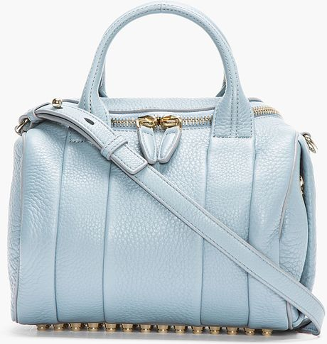 Alexander Wang Blue Studded Pebbled Leather Rockie Duffle Bag in Blue