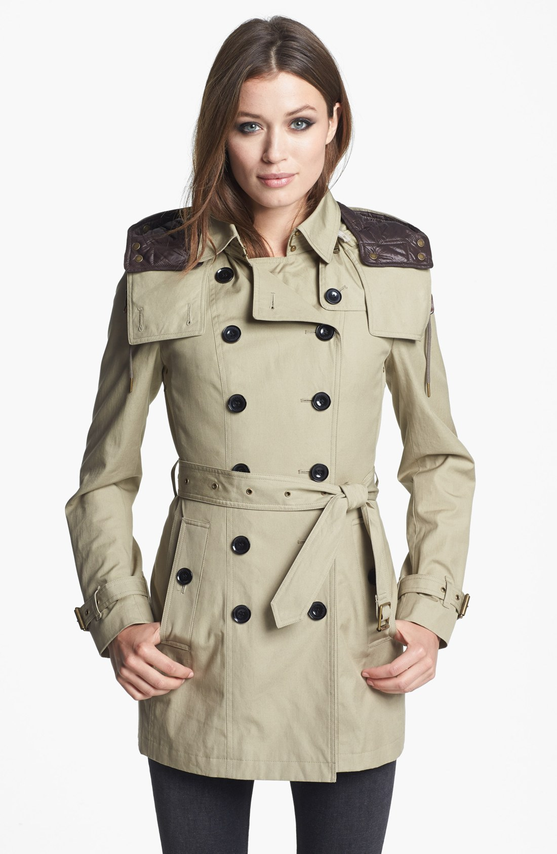 lyst burberry brit reymoore trench coat with detachable hood liner in brown. Black Bedroom Furniture Sets. Home Design Ideas