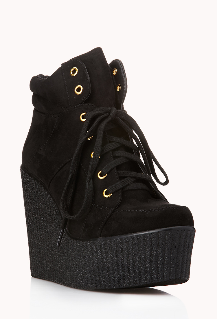 lyst forever 21 new heights wedge booties in black